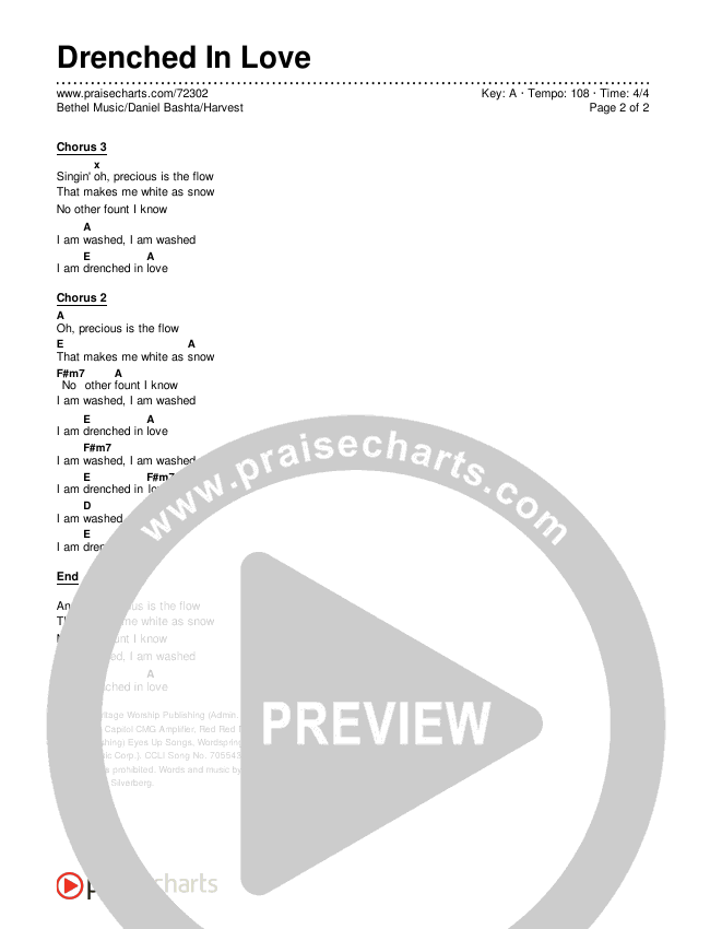 Drenched In Love Chords & Lyrics (Bethel Music / Daniel Bashta / Harvest)