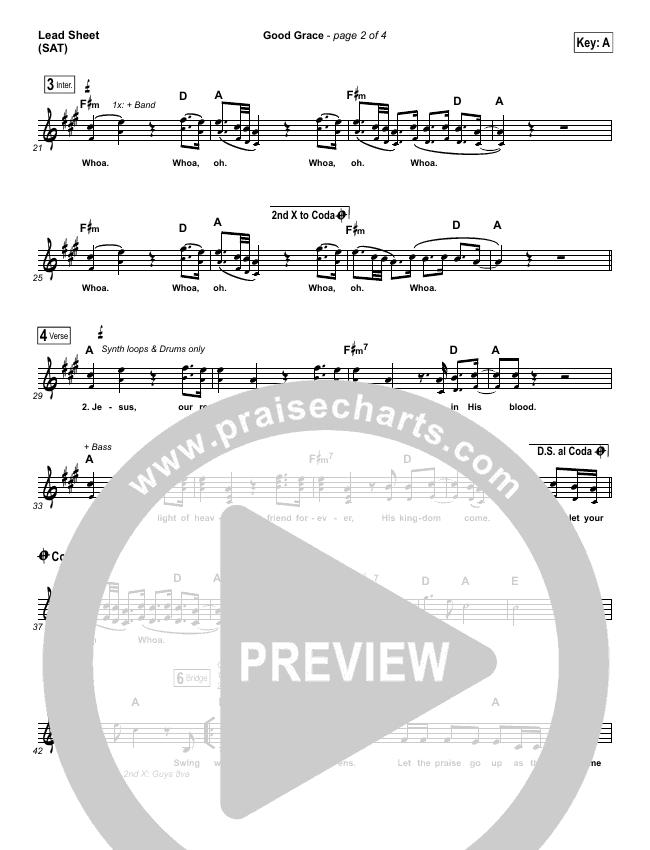 Good Grace Lead & Piano/Vocal (Hillsong UNITED / Joel Houston)