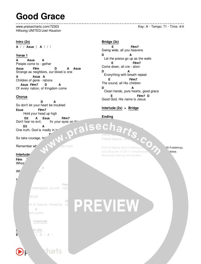 Good Grace Chords & Lyrics (Hillsong UNITED / Joel Houston)
