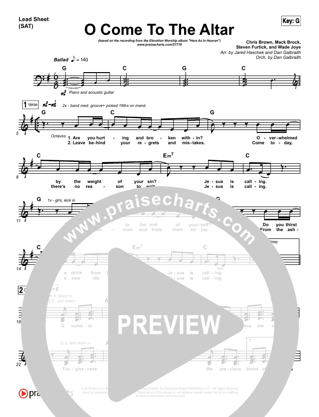 O Come To The Altar (Choral) Lead & Piano/Vocal (PraiseCharts Choral / Elevation Worship / Arr. Luke Gambill)