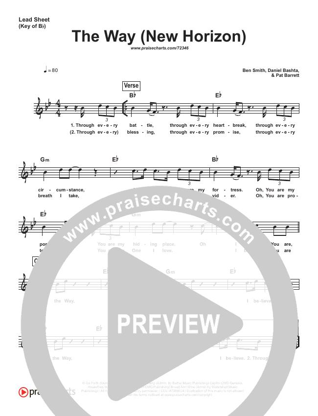 The Way (New Horizon) (Simplified) Lead Sheet (Pat Barrett)