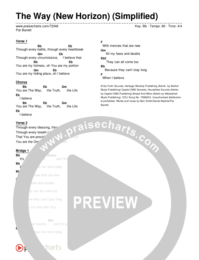 The Way (New Horizon) (Simplified) Chords & Lyrics (Pat Barrett)