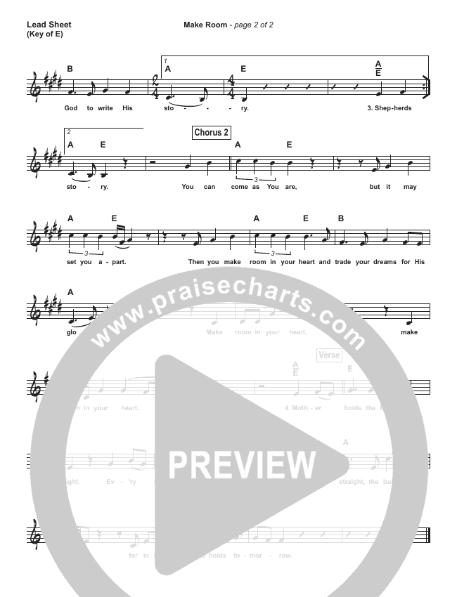 Make Room (Simplified) Lead Sheet (Casting Crowns / Matt Maher)