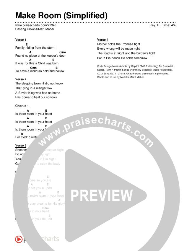 Make Room (Simplified) Chords & Lyrics (Casting Crowns / Matt Maher)