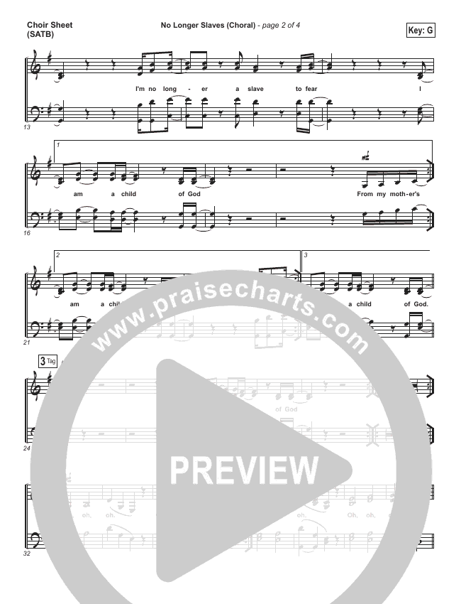 No Longer Slaves (Choral) Choir Sheet (SATB) (PraiseCharts Choral / Bethel Music / Arr. Luke Gambill)