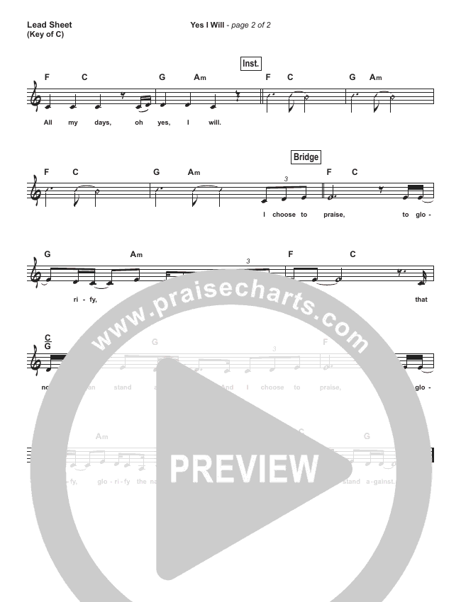 Yes I Will (Simplified) Lead Sheet (Vertical Worship)