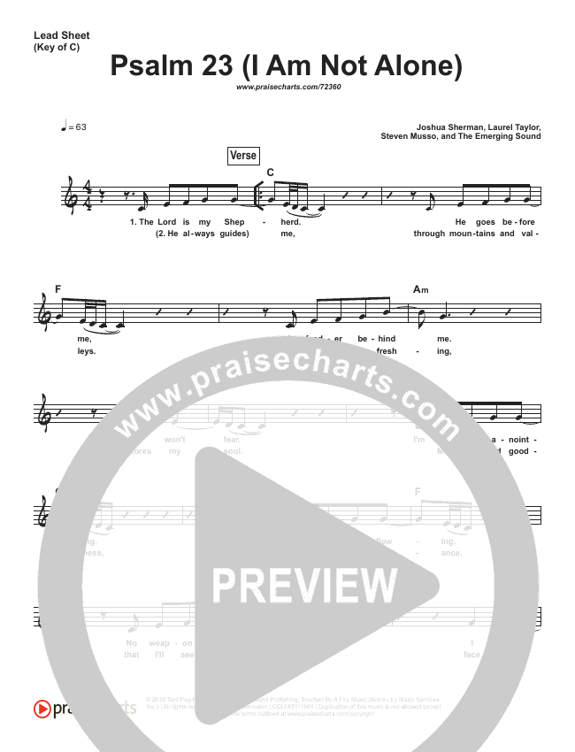 Psalm 23 (I Am Not Alone) (Simplified) Lead Sheet (People & Songs / Joshua Sherman)