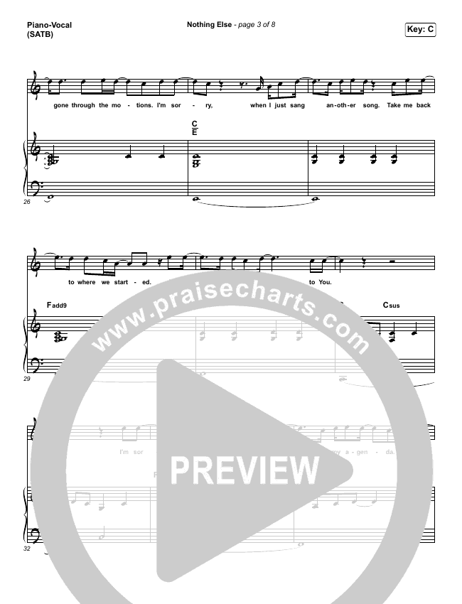 Nothing Else Piano/Vocal (SATB) (Cody Carnes)