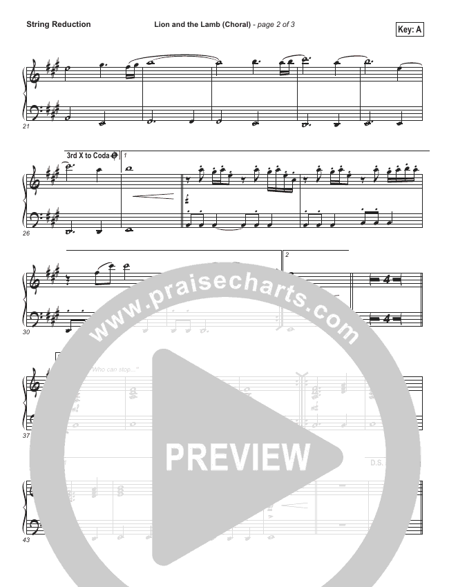 Lion And The Lamb (Choral) String Pack (PraiseCharts Choral / Bethel Music / Arr. Luke Gambill)