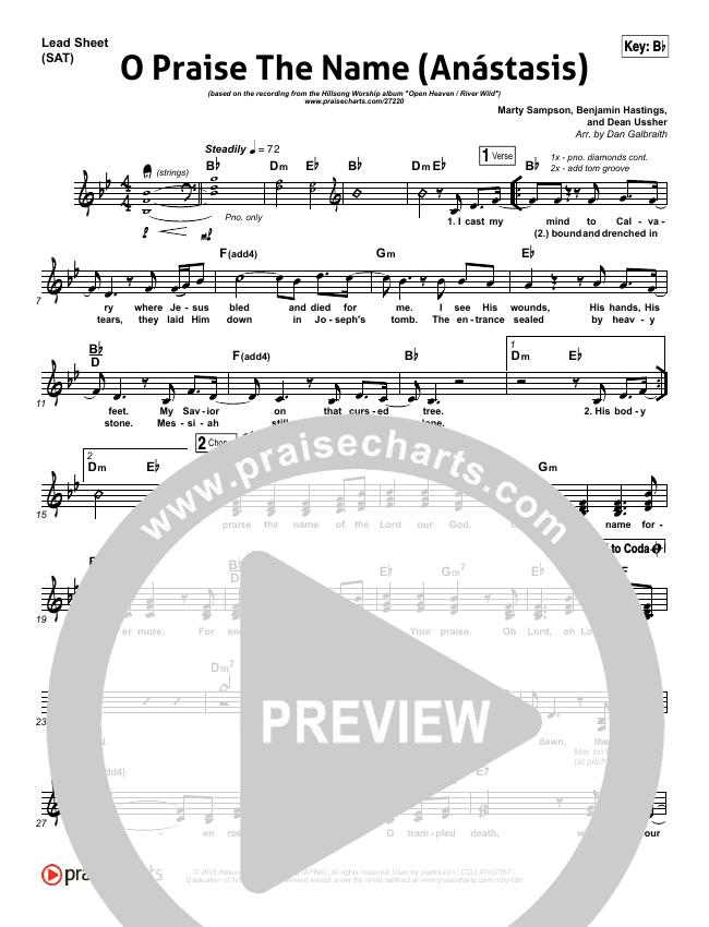 O Praise The Name (Anastasis) (Choral) Piano/Vocal (SATB) (PraiseCharts Choral / Hillsong Worship)