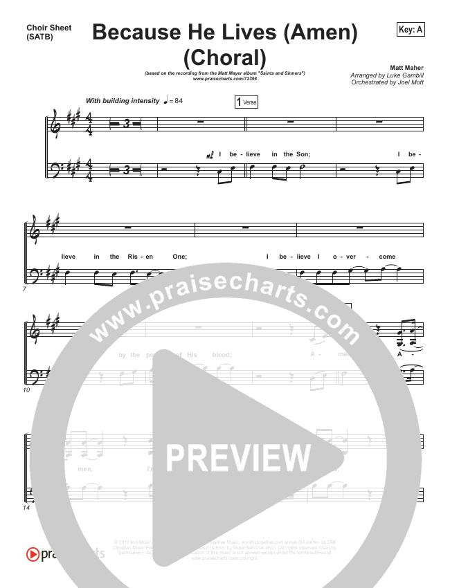 Because He Lives (Amen) (Choral) Choir Sheet (SATB) (PraiseCharts Choral / Matt Maher)