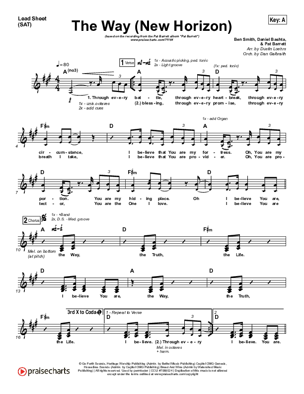 The Way (New Horizon) (Choral) Orchestration (PraiseCharts Choral / Pat Barrett / Arr. Luke Gambill)