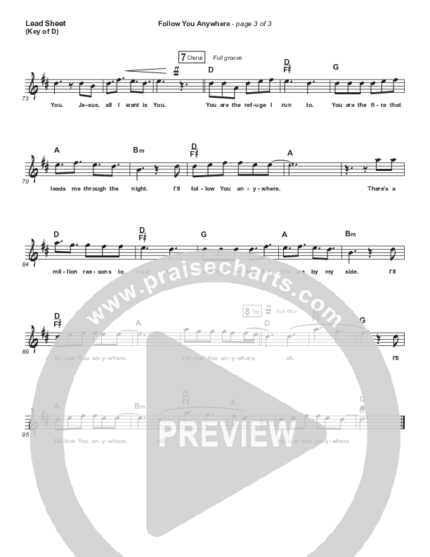 Follow You Anywhere Lead Sheet (Melody) (Passion / Kristian Stanfill)