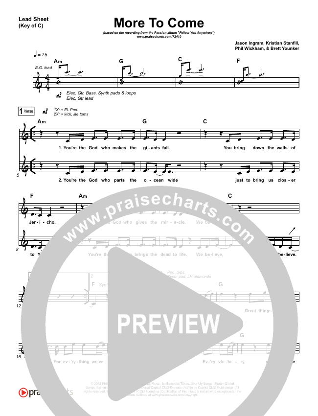 More To Come Lead Sheet (Melody) (Passion / Kristian Stanfill)