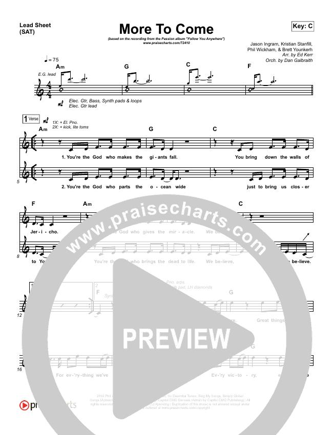 More To Come Lead & Piano/Vocal (Passion / Kristian Stanfill)
