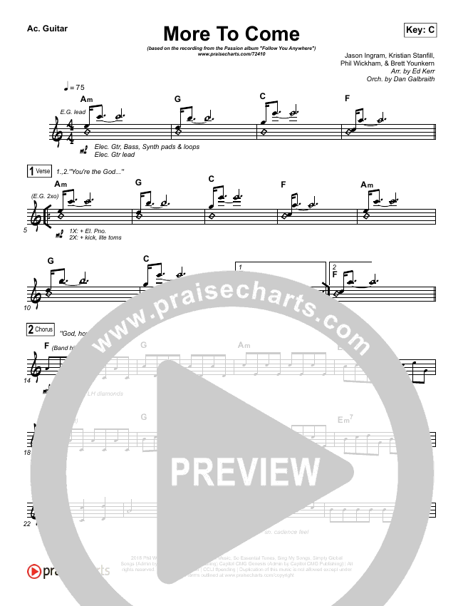 More To Come Rhythm Chart (Passion / Kristian Stanfill)