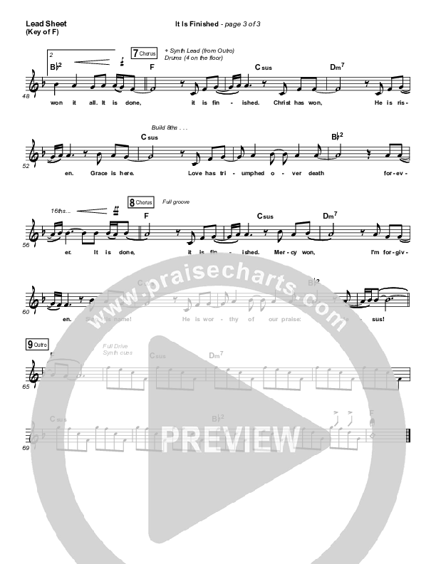 It Is Finished Lead Sheet (Melody) (Passion / Melodie Malone)