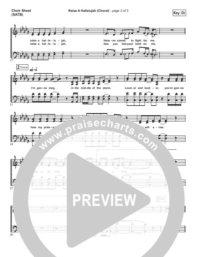 Raise A Hallelujah (Choral) Choir Sheet (SATB) (PraiseCharts Choral / Bethel Music / Arr. Luke Gambill)