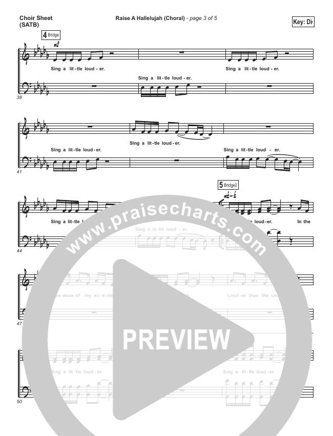 Raise A Hallelujah (Choral) Choir Sheet (SATB) (PraiseCharts Choral / Bethel Music)