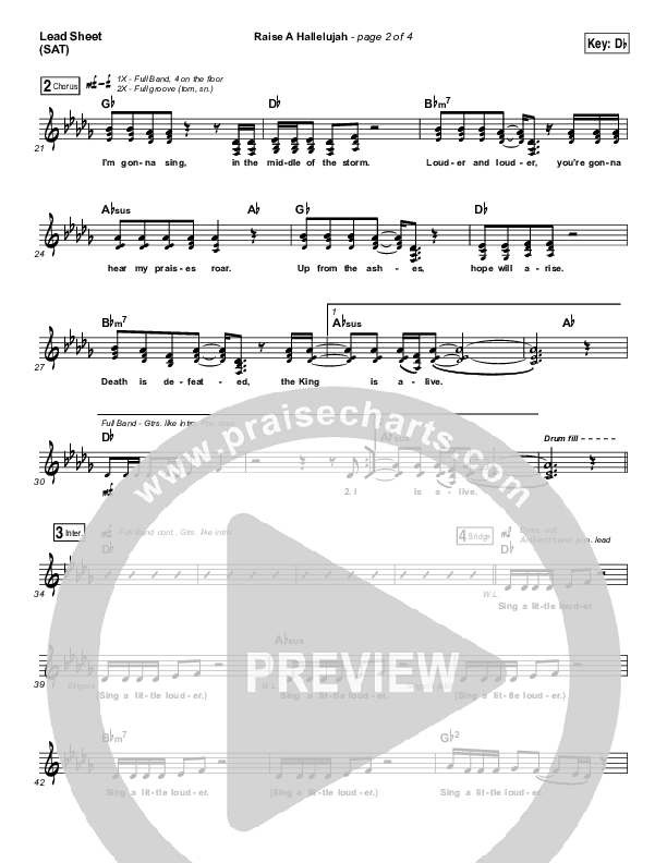 Raise A Hallelujah (Choral) Lead & Piano/Vocal (PraiseCharts Choral / Bethel Music / Arr. Luke Gambill)