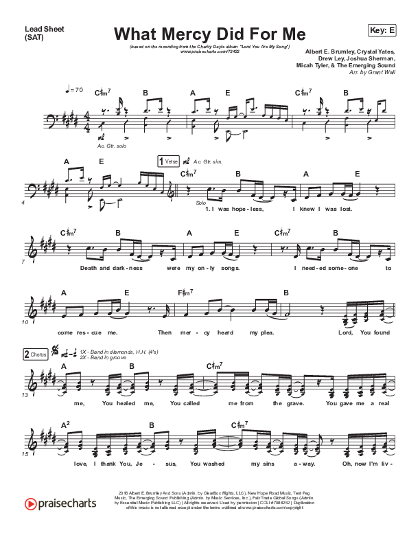 What Mercy Did For Me Lead Sheet (SAT) (Charity Gayle / Joshua Sherman)