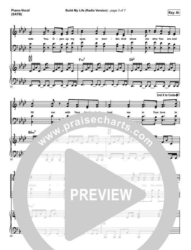 Build My Life (Radio) Piano/Vocal (SATB) (Pat Barrett)