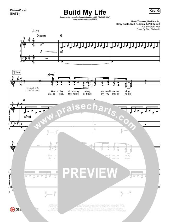 Build My Life (Live) Piano/Vocal (SATB) (Pat Barrett / Chris Tomlin)