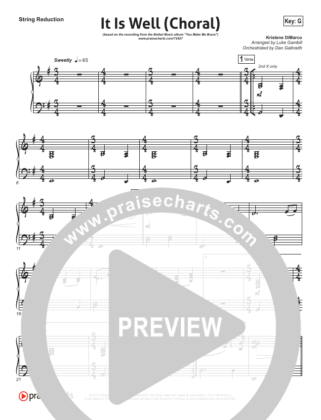 It Is Well (Choral) String Pack (PraiseCharts Choral / Kristene DiMarco / Arr. Luke Gambill)