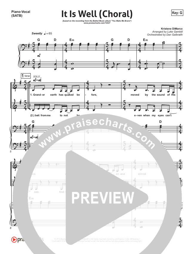 It Is Well (Choral) Orchestration (PraiseCharts Choral / Kristene DiMarco)