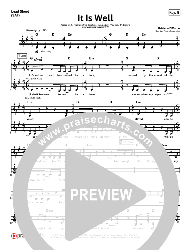 It Is Well (Choral) Lead & Piano/Vocal (PraiseCharts Choral / Kristene DiMarco)
