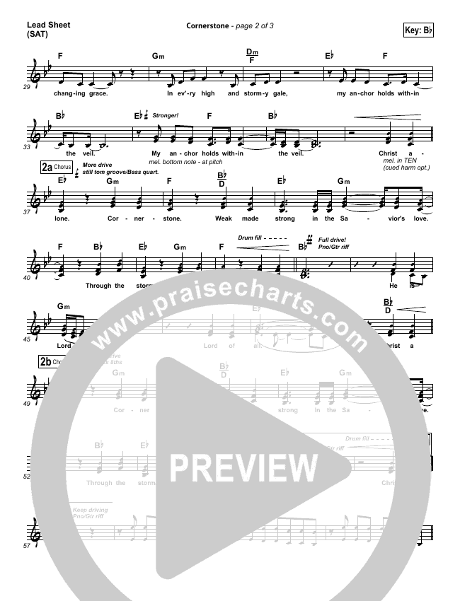 Cornerstone (Choral) Lead & Piano/Vocal (PraiseCharts Choral / Hillsong Worship / Arr. Luke Gambill)