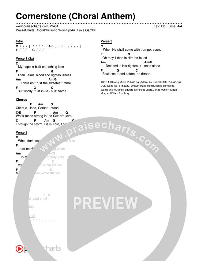 Cornerstone (Choral) Chords & Lyrics (PraiseCharts Choral / Hillsong Worship)