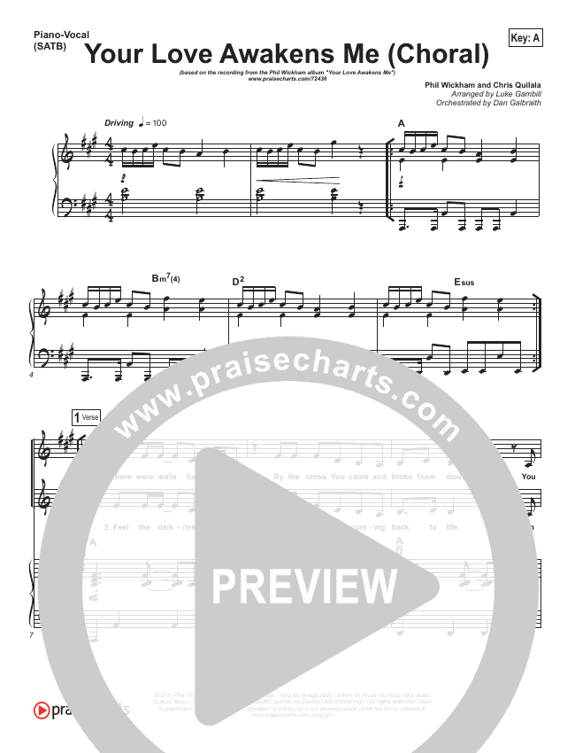 Your Love Awakens Me (Choral) Orchestration (PraiseCharts Choral / Phil Wickham)