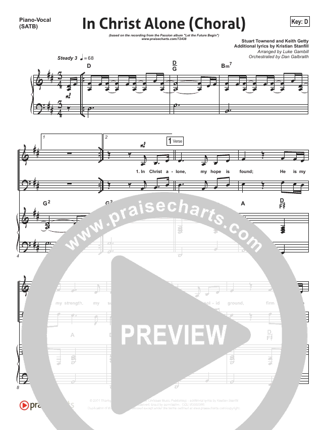 In Christ Alone (Choral) Orchestration (PraiseCharts Choral / Kristian Stanfill / Passion)