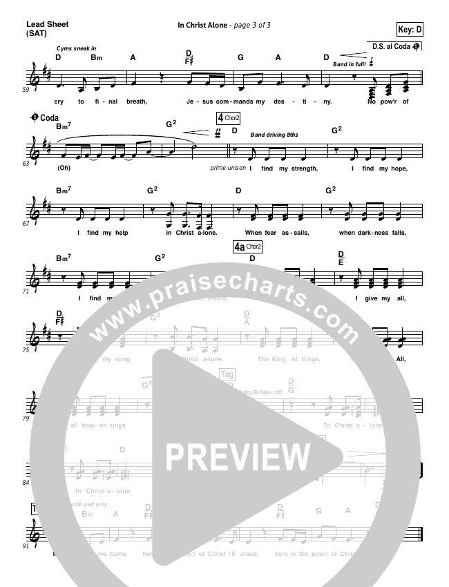 In Christ Alone (Choral) Piano/Vocal (SATB) (PraiseCharts Choral / Kristian Stanfill / Passion)