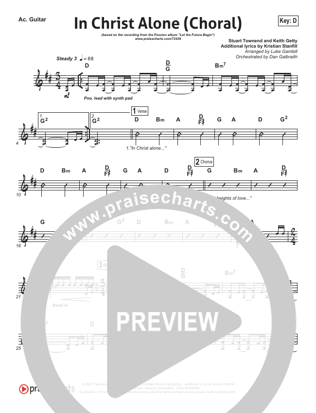 In Christ Alone (Choral) Rhythm Chart (PraiseCharts Choral / Kristian Stanfill / Passion)