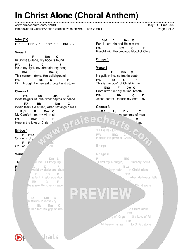 In Christ Alone (Choral) Chords & Lyrics (PraiseCharts Choral / Kristian Stanfill / Passion)