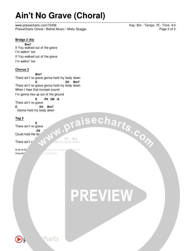 Ain't No Grave (Choral) Chord Chart (Editable) - PraiseCharts Choral