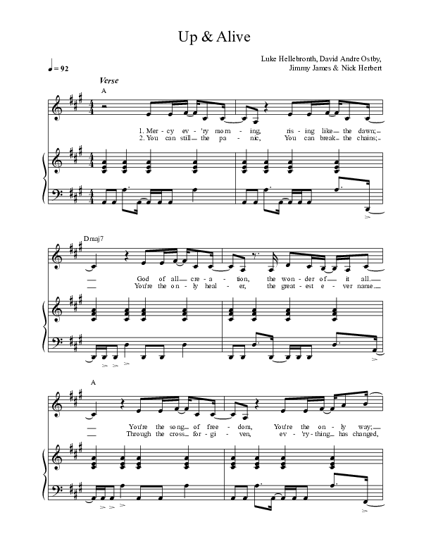 Up And Alive Piano/Vocal (SATB) (Luke + Anna Hellebronth)