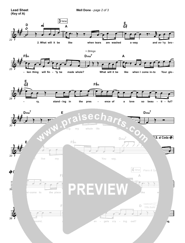 Well Done Lead Sheet (Melody) (The Afters)