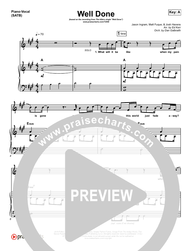 Well Done Piano/Vocal (SATB) (The Afters)