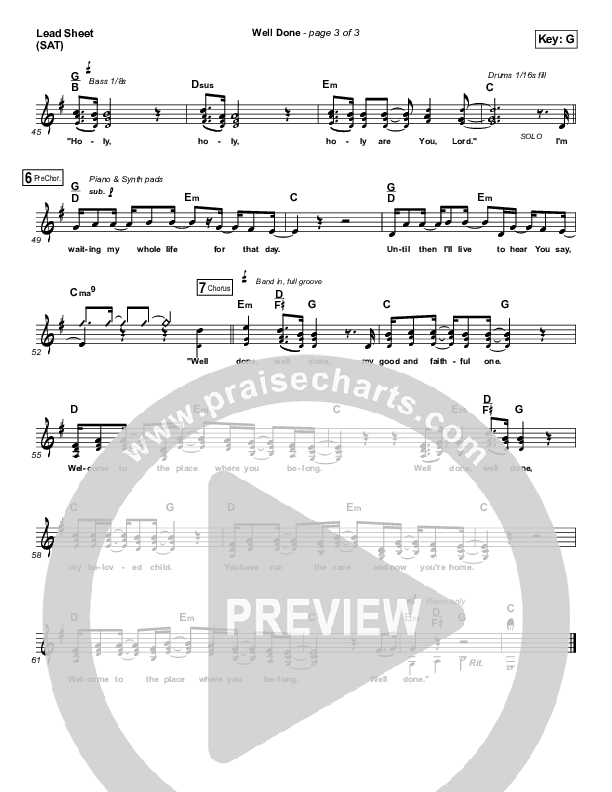 Well Done Lead Sheet (SAT) (The Afters)