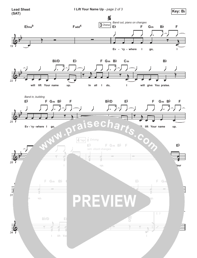 I Lift Your Name Up Lead Sheet (SAT) (Planetshakers)