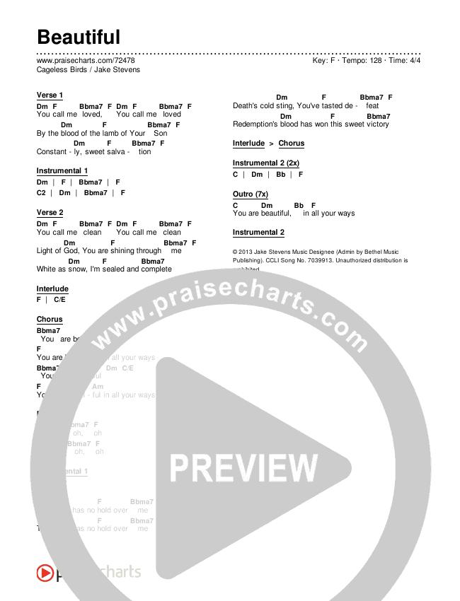 Beautiful Chords & Lyrics (Cageless Birds / Jake Stevens)