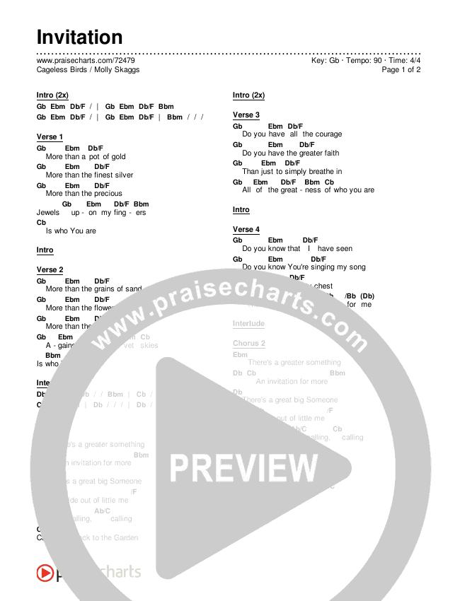 Invitation Chords & Lyrics (Cageless Birds / Molly Skaggs)