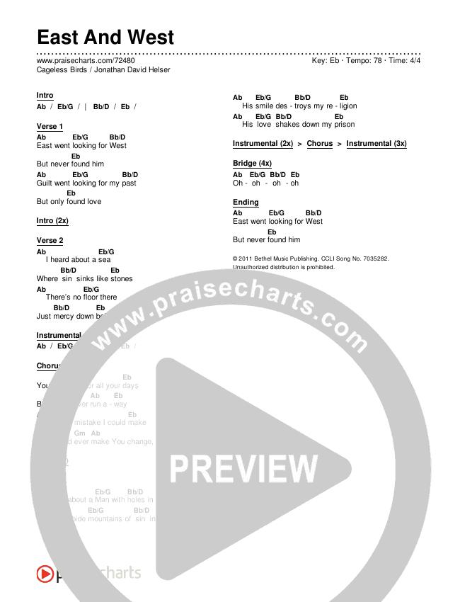 East And West Chords & Lyrics (Cageless Birds / Jonathan David Helser)