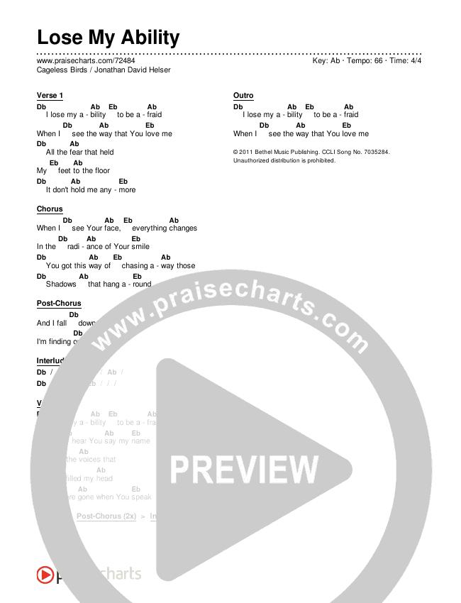 Lose My Ability Chords & Lyrics (Cageless Birds / Jonathan David Helser)