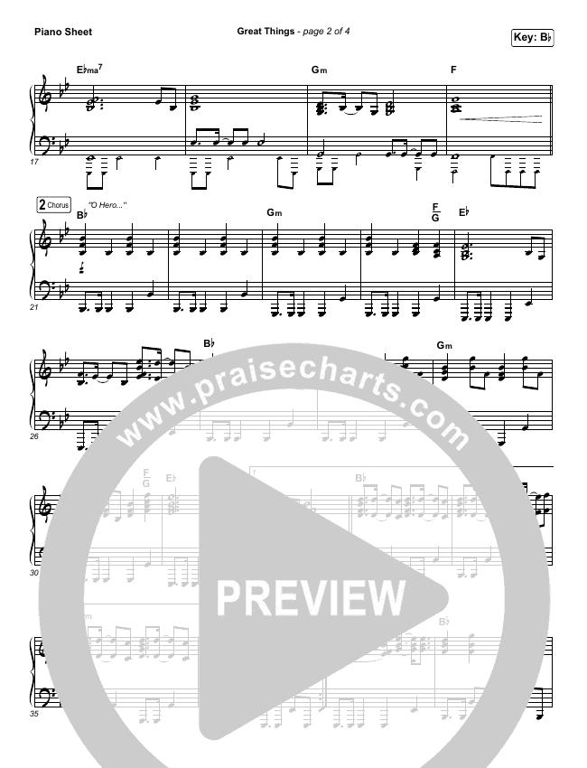Great Things Piano Sheet (Phil Wickham)