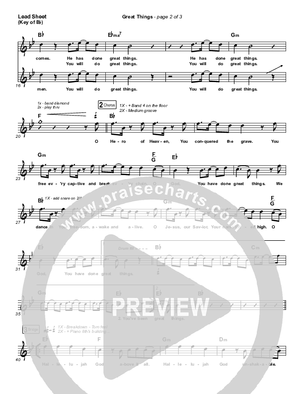 Great Things Lead Sheet (Melody) (Phil Wickham)