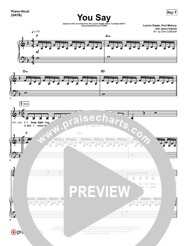 You Say (Piano) Piano/Vocal (SATB) (Lauren Daigle)